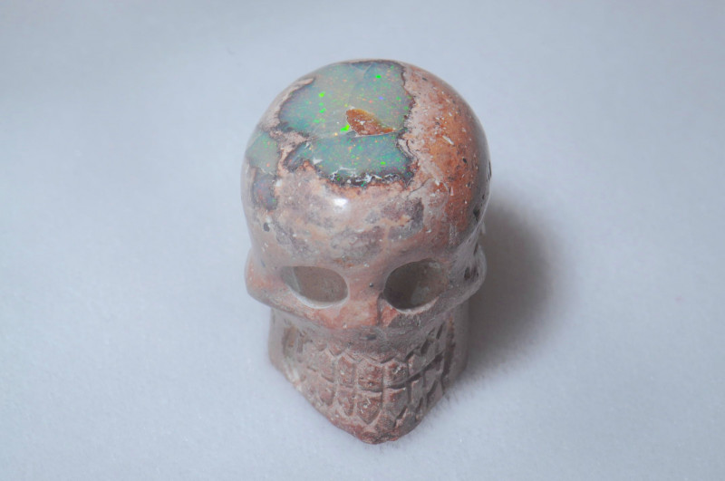 79ct. Skull Mexican Cantera Fire Opal Figurine