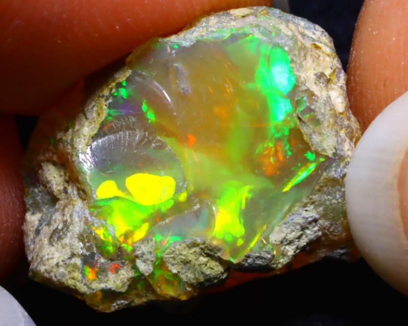10.66Ct Multi Color Play Ethiopian Welo Opal Rough F2209