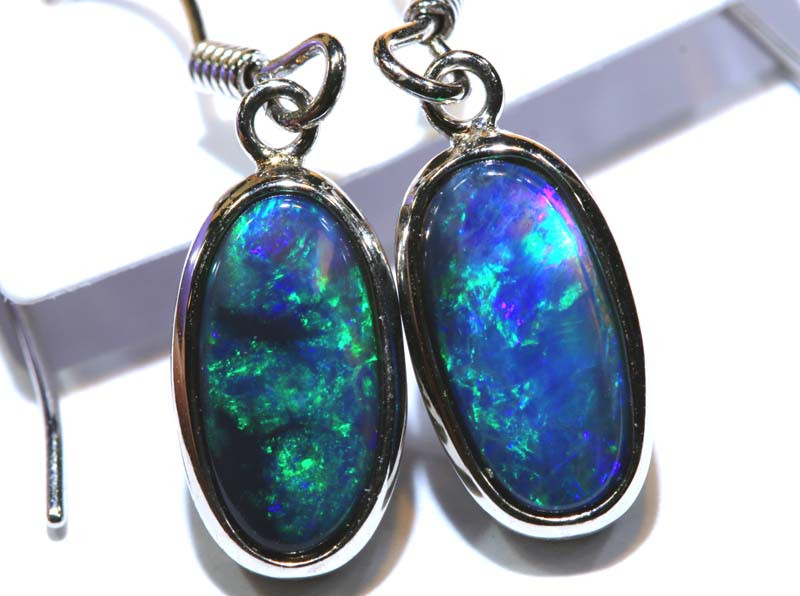 1.32CTS - SOLID OPAL  SILVER EARRING OF-2715