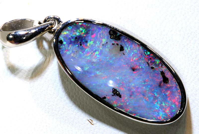 28.25- CTS  BOULDER  OPAL SILVER PENDANT OF-2719