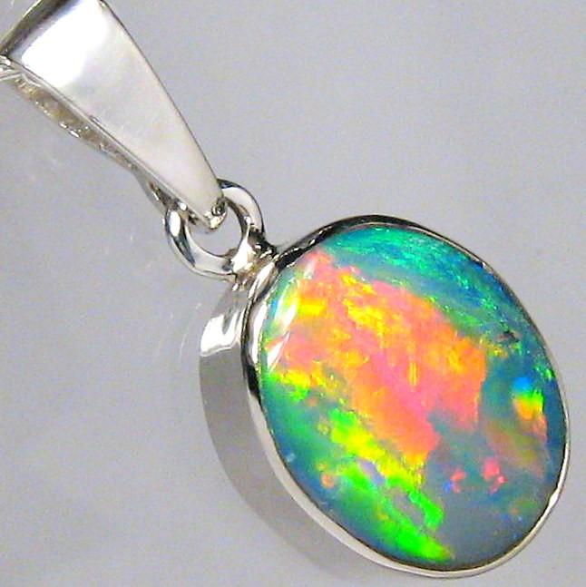 Australian Opal Pendant Sterling Silver Doublet 5.95ct