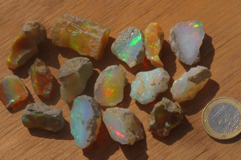 262ct Parcel Ethiopian Welo Opal Rough Sizes .3 - 8.2 grams A#2