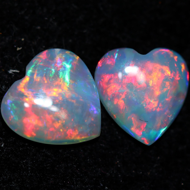 0.66 CTS CRYSTAL OPAL PAIRS HEART SHAPED [SEDA3080]