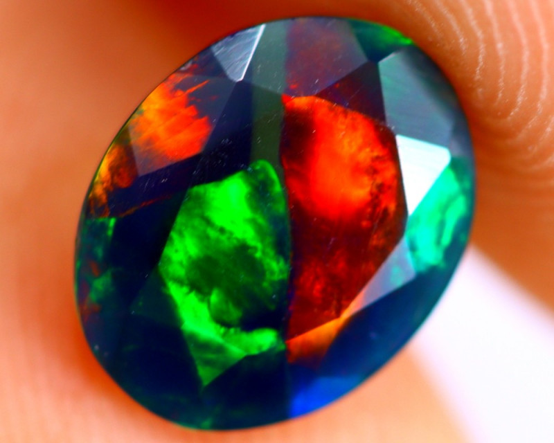 0.87cts Natural Ethiopian Smoked Faceted Black Opal / BF786