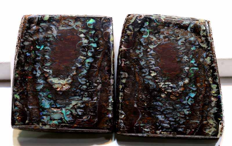 515  CTS - PART-POLISHED YOWAH OPAL ROUGH PAIR  DT-7085