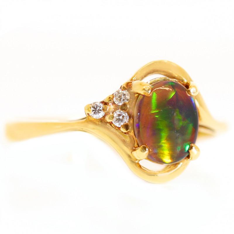 18K SEMI BLACK  CRYSTAL OPAL RING  AND DIAMONDS [CR81]