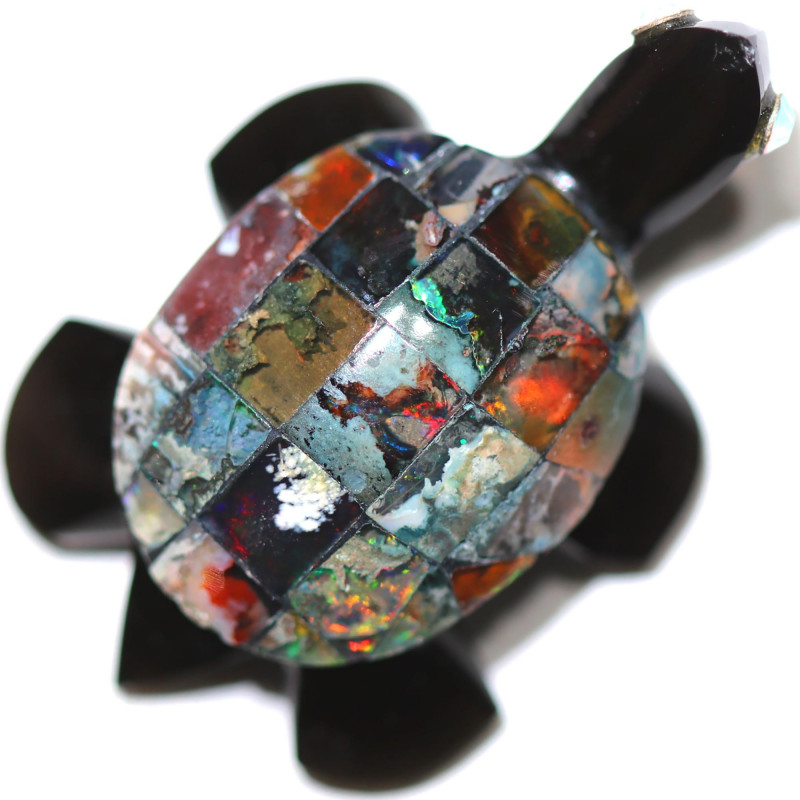 18.06 CTS FIREY  MEXICAN OPAL TURTLE CARVING [VS7394]