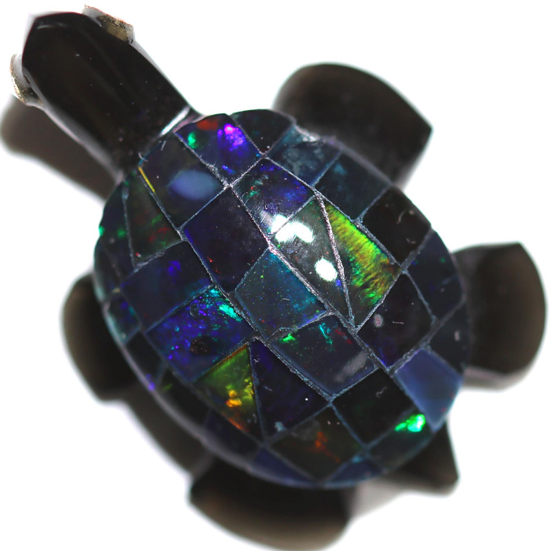 11.88 CTS FIREY  MEXICAN OPAL TURTLE CARVING [VS7399]