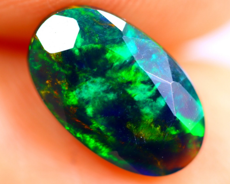 1.24cts Natural Ethiopian Smoked Faceted Black Opal / BF897