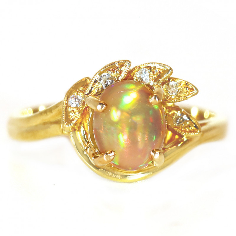 18K GOLD BLACK CRYSTAL OPAL RING GOLD AND DIAMONDS [CR87]