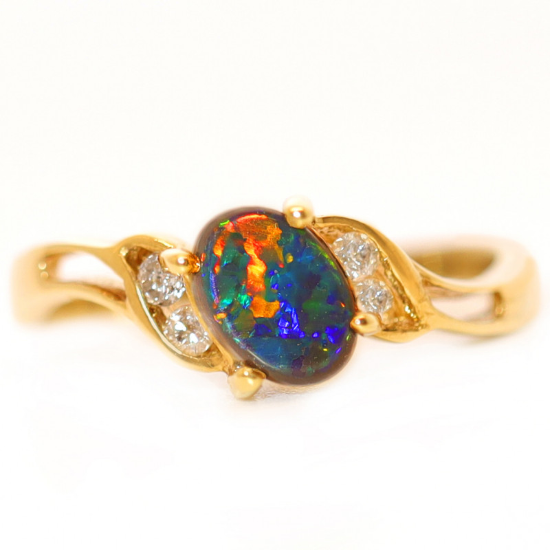 18K GOLD BLACK OPAL RING GOLD AND DIAMONDS [CR80]