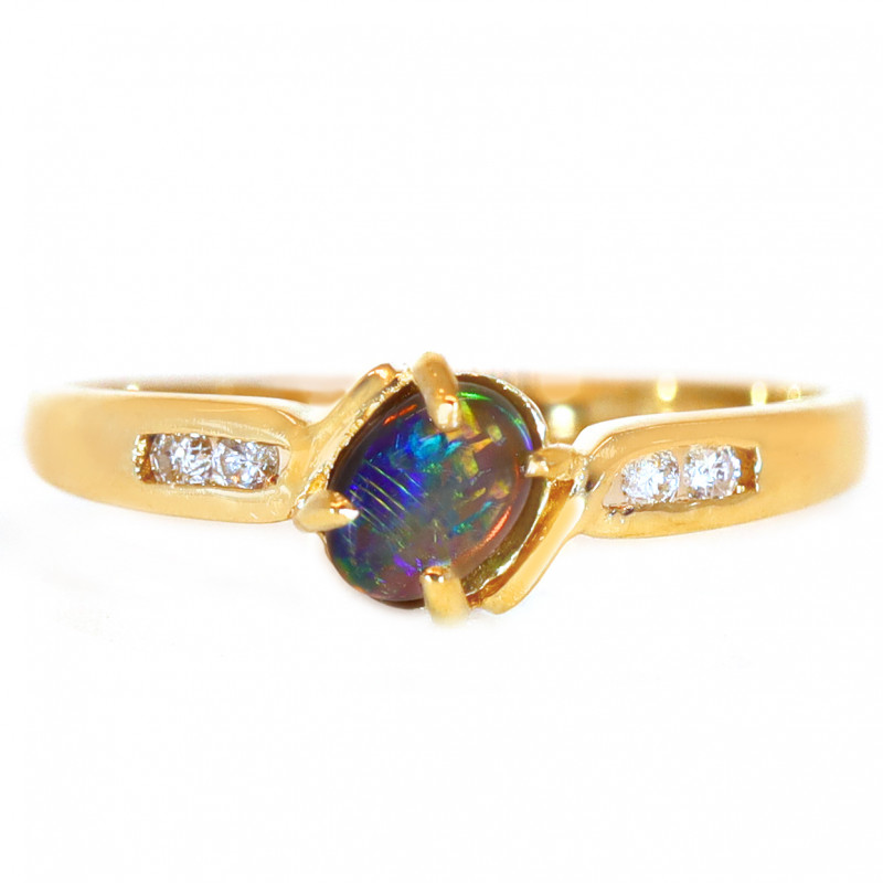 14K GOLD BLACK OPAL RING GOLD AND DIAMONDS [CR86]