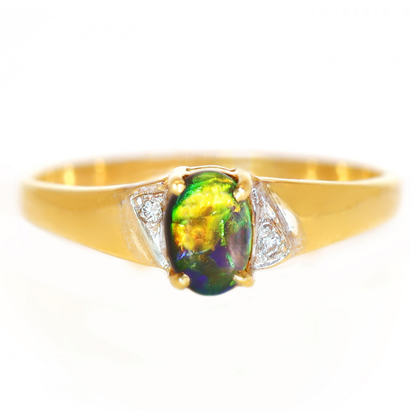 18K GOLD BLACK OPAL RING GOLD AND DIAMONDS [CR89]