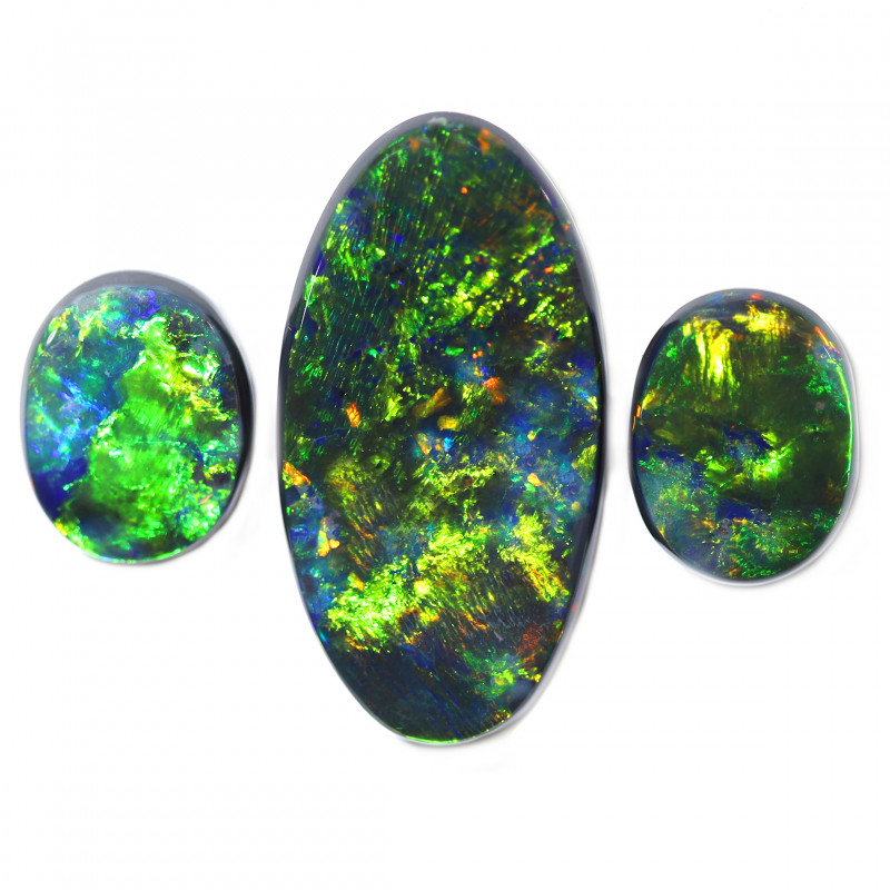 23.05 CTS BLACK OPAL STONE -LIGHTNING RIDGE-SET 3- [CS140]