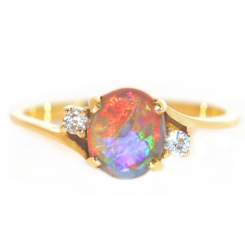 18K GOLD  BLACK OPAL RING GOLD AND DIAMONDS [CR92]