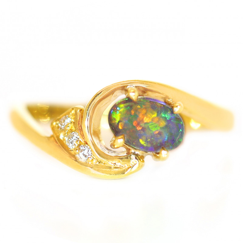 18K GOLD  BLACK OPAL RING GOLD AND DIAMONDS [CR98]