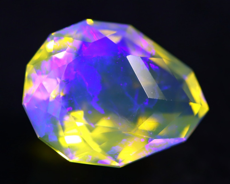 6.40Ct Designer Cutting Lightning Ridge Faceted Crystal Opal H46