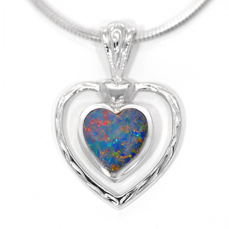 925 ST/ SILVER RHODIUM PLATED OPAL DOUBLET PENDANT[CP118]