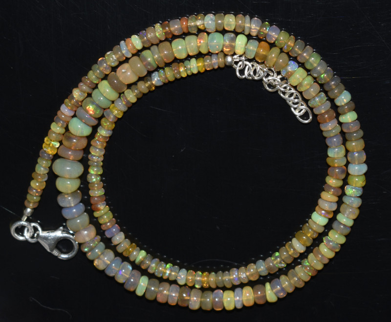 45.35  CT OPAL NECKLACE MADE WITH NATURAL ETHIOPIAN BEADS A-14