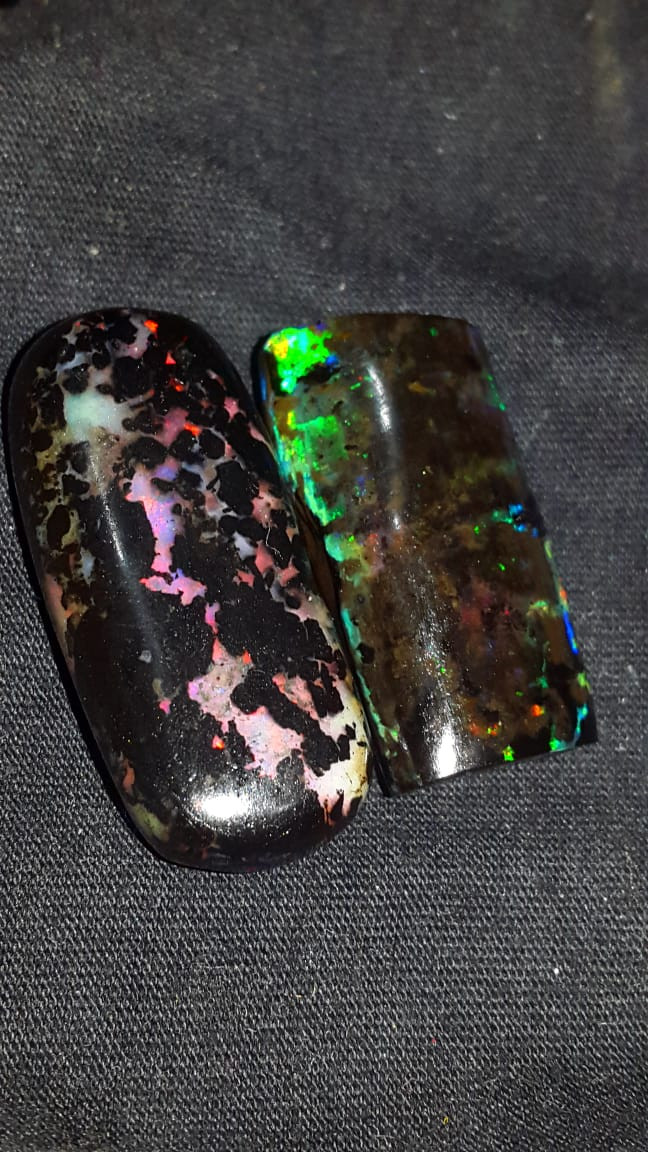 54.00 CRT 2PCS GORGEOUS COLOR PATTERN INDONESIAN OPAL WOOD FOSSIL