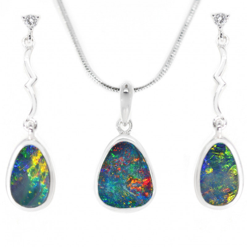 925 ST/ SILVER RHODIUM PLATED OPAL DOUBLET JEWELLRY SET [CSET09]