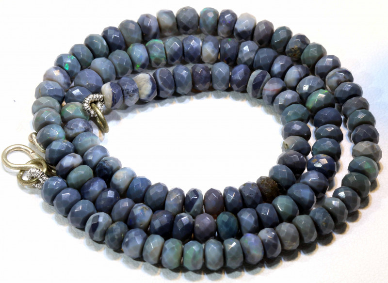 80  CTS  BLACK OPAL BEADS FACETED DRILLED NECKLACE TBO-901