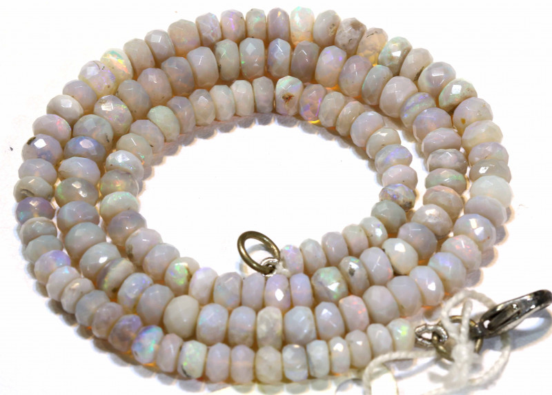 70 CTS  WHITE OPAL BEADS FACETED DRILLED NECKLACE TBO-909