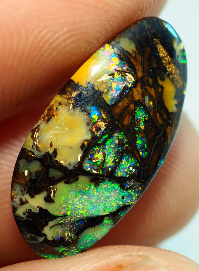 5.60CT  BRIGHT WOOD FOSSIL BOULDER OPAL ST360