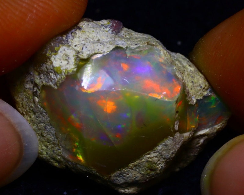24.22Ct Bright Color Play Ethiopian Welo Opal Rough GR25