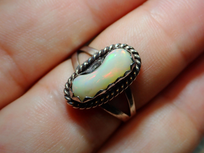 8sz Ethiopian Welo Solid Opal .925 Sterling Ring