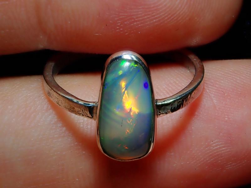 6.7sz Ethiopian Welo Solid Opal .925 Sterling Ring