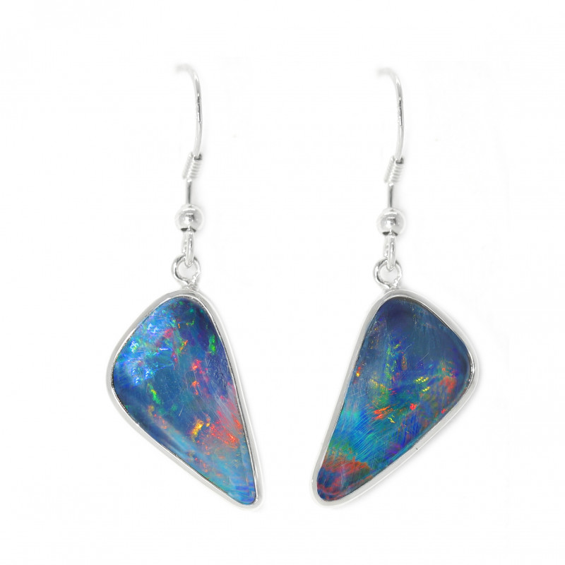 925 ST/ SILVER RHODIUM PLATED OPAL DOUBLET PIERCE EARRINGS [CE16]