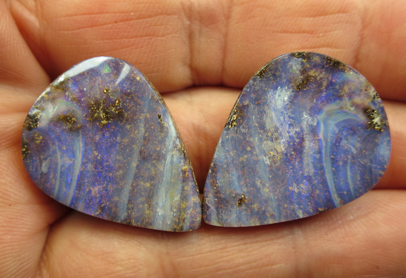 70cts, BOULDER OPAL~POLISHED PAIR.