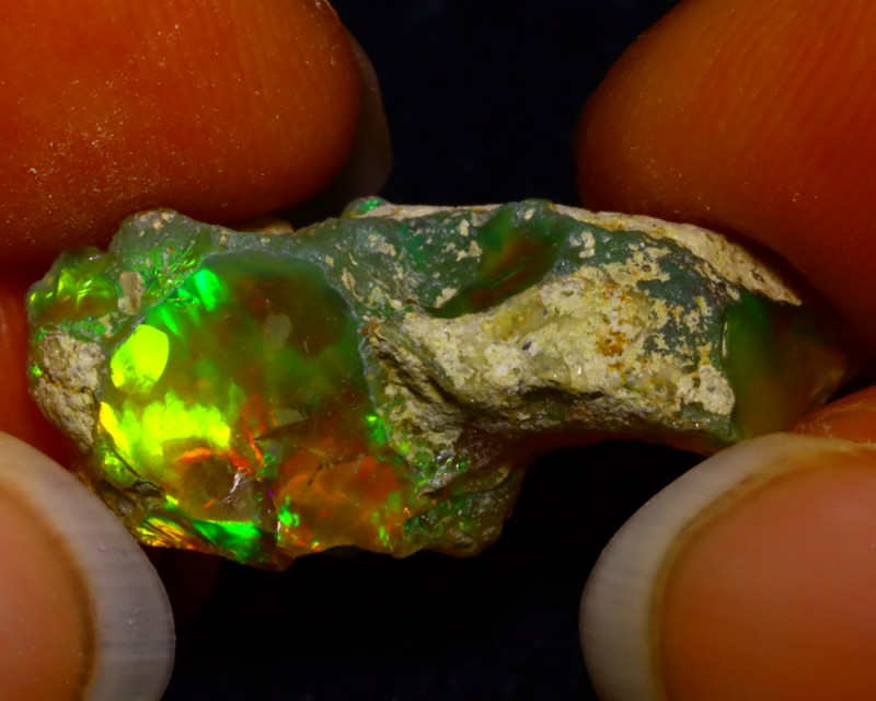 8.37Ct Multi Color Play Ethiopian Welo Opal Rough F2001
