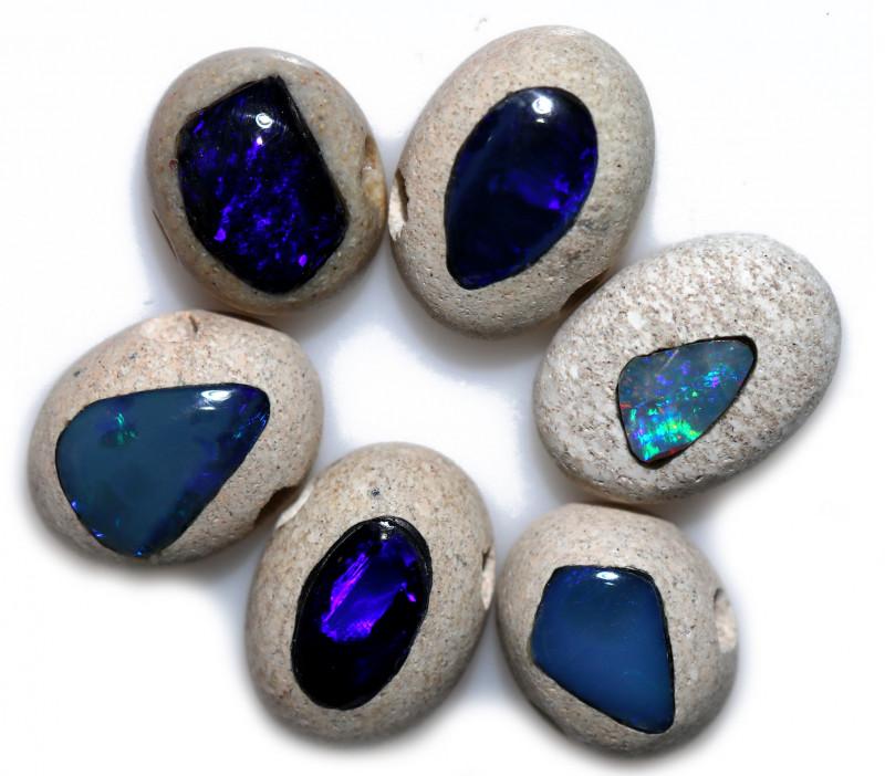 22 Cts parcel 6 Crystal opal inlaid  Bu 2501