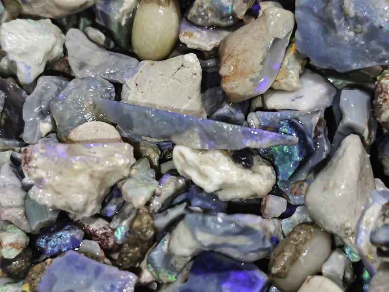 4oz Beginners Black Opal Rough lot, potch & color, lapidary, practice cutti