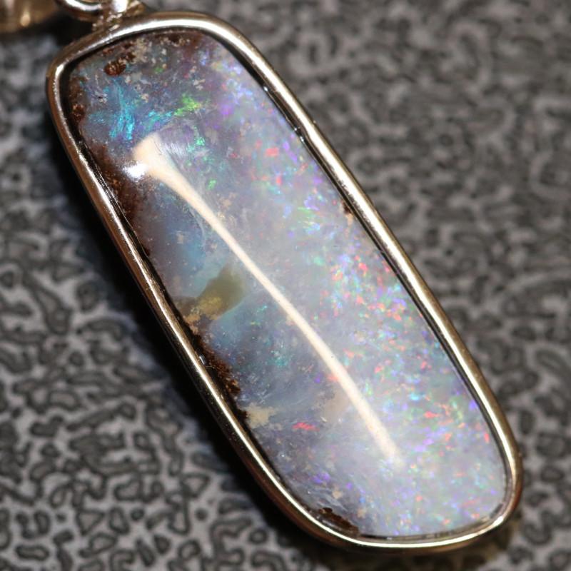 2.87g   Australian Boulder Opal Pendant Sterling Silver L 32.6 mm
