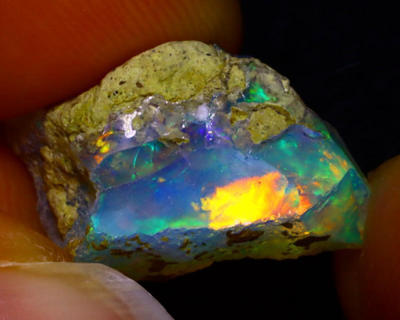 6.06Ct Multi Color Play Ethiopian Welo Opal Rough G2713/R2