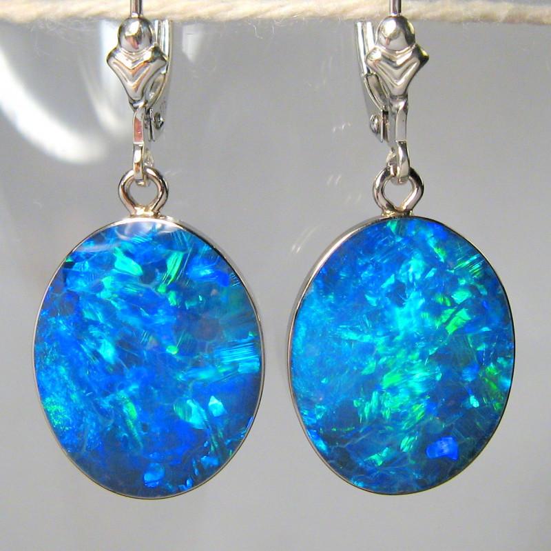 Australian Opal Earrings 14.6ct 14k White Gold Quality Inlay C32