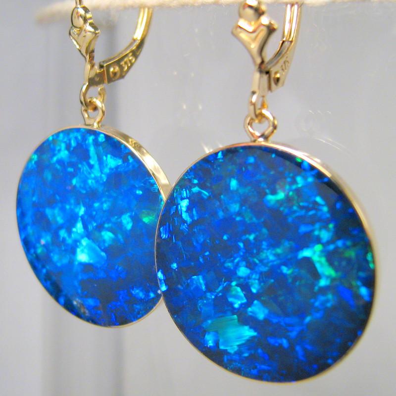 Australian Opal Earrings Large 14k Gold Dangle Clips 23ct #C30