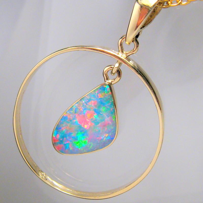 Australian Opal Pendant 14k Gold Genuine Jewelry 7.5ct Gift C46