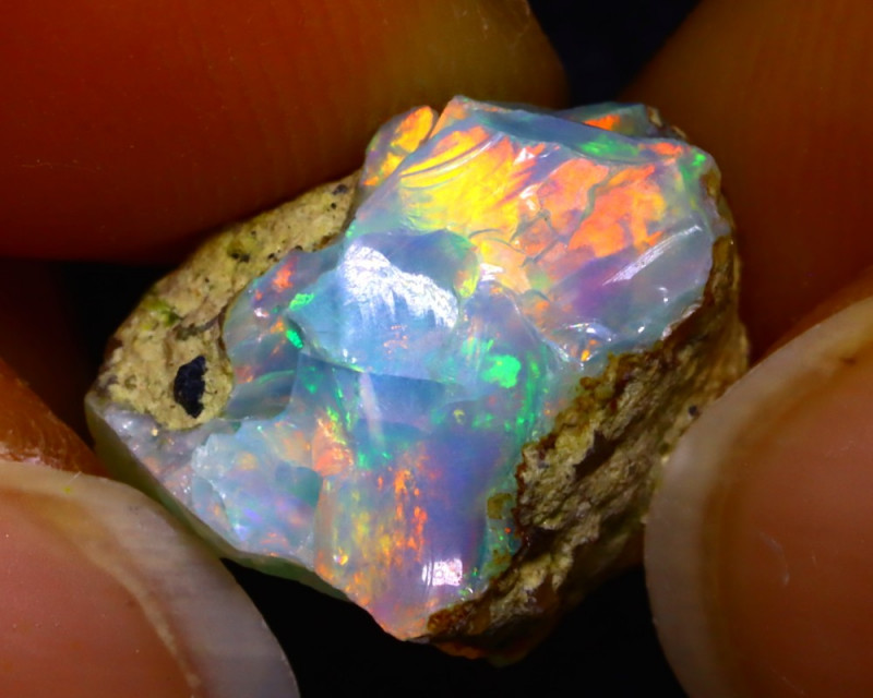 6.93Ct Multi Color Play Ethiopian Welo Opal Rough F3021/R22