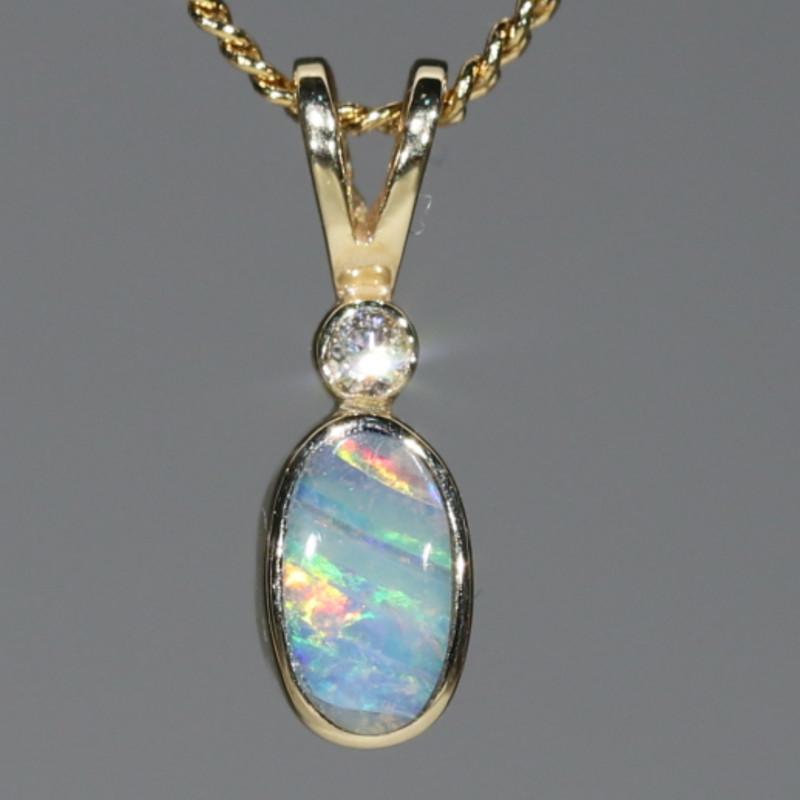 Boulder Opal and Diamond 18k Gold Pendant Code -GPA137