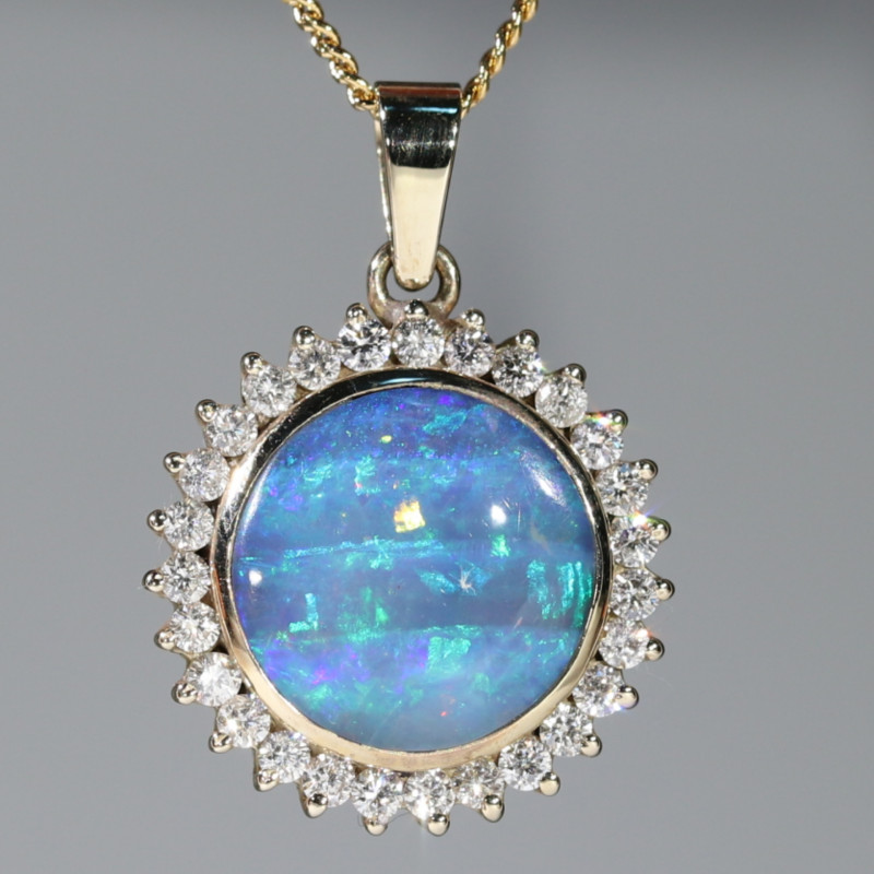 Boulder Opal and Diamond 18k Gold Pendant