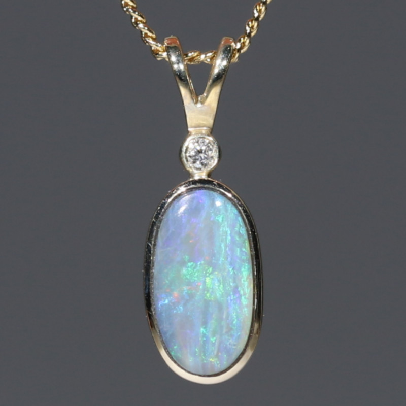 Boulder Opal and Diamond Gold Pendant Code -GPA142