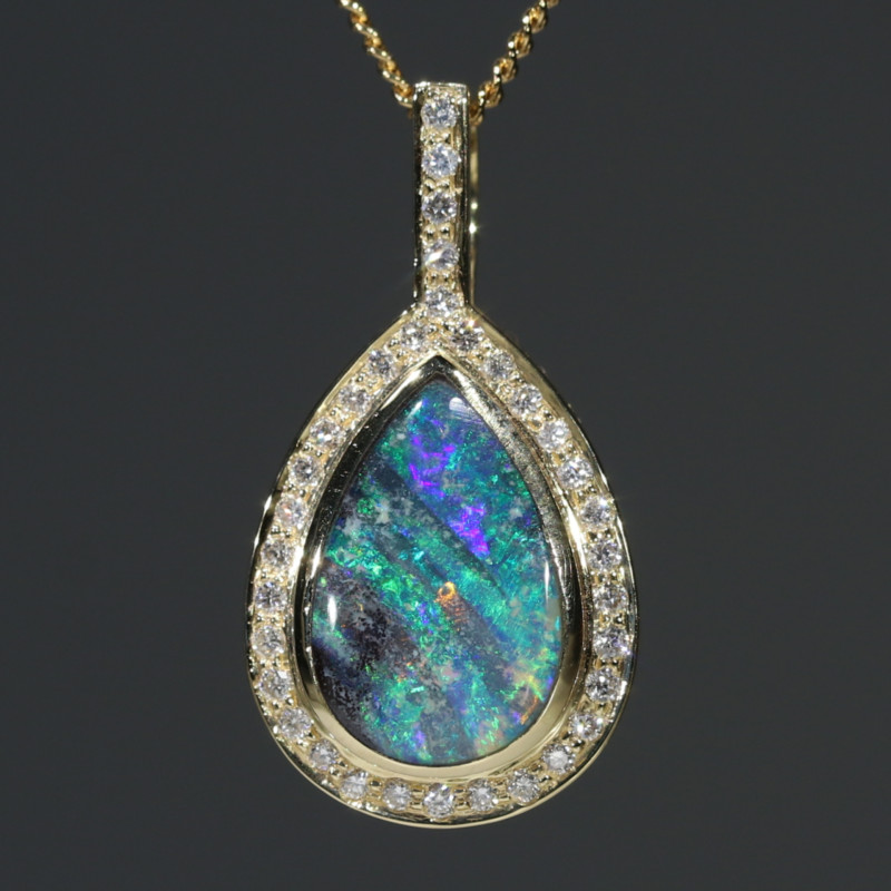 Natural Australian Boulder Opal and Diamond  Gold Pendant Code -PL45