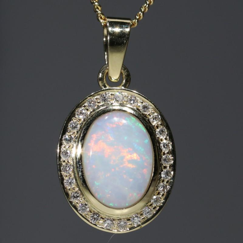Natural Australian White Opal and Diamond 18K Gold Pendant Code -PL44