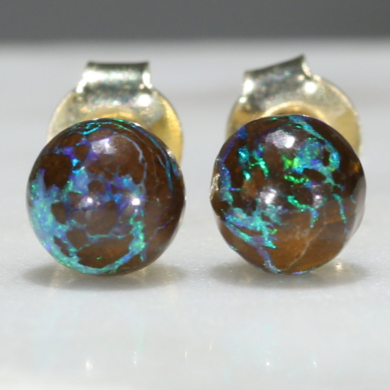 Natural Australian  6mm Boulder Opal Matrix Gold Earring Studs Code -GE25