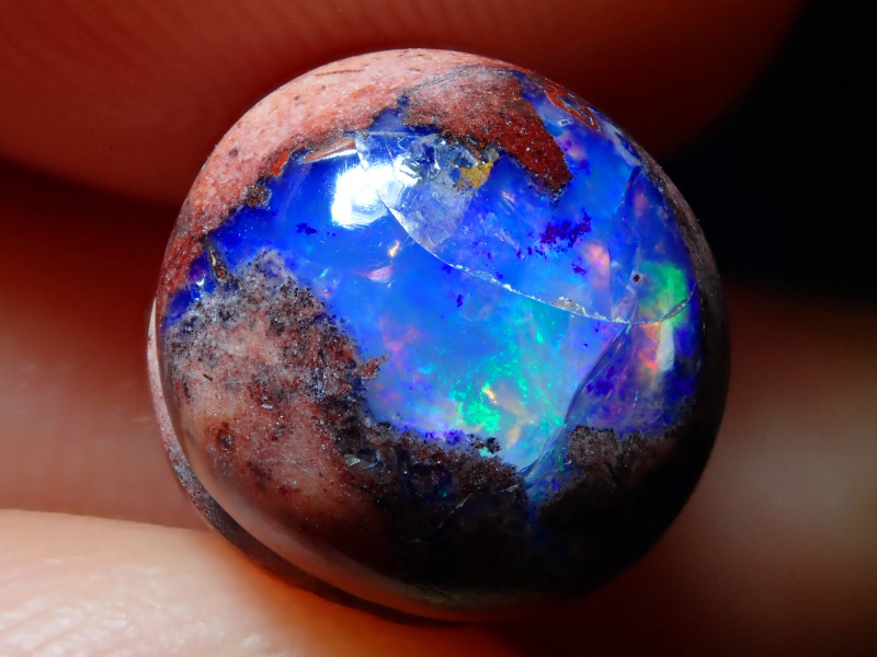Blue / Purple   Opal Within Host rock Mexican Cantera Fire Opal Stone