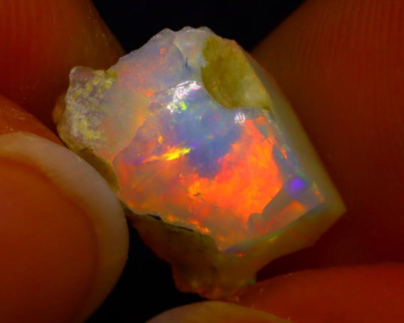 3.38Ct Multi Color Play Ethiopian Welo Opal Rough J1217/R2
